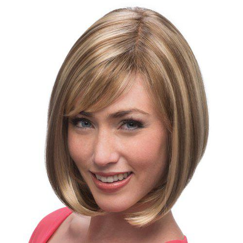 Trendy Brown Mixed Blonde Short Straight Side Bang Synthetic Capless Women's Wig