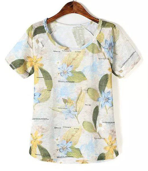 Refreshing Leaf Print Scoop Neck Short Sleeve T-Shirt For Women - 03 L