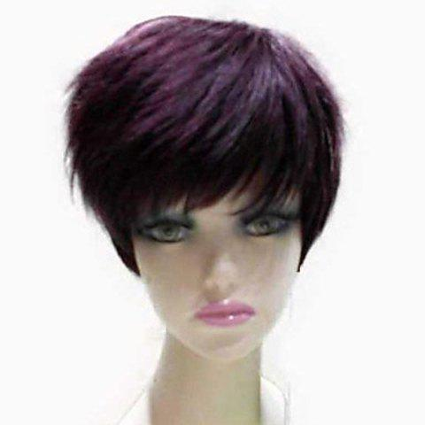 Natural Straight Top Quality Synthetic Hair Side Bang Mixed Color Casual Style Women's Short Wig - COLORMIX