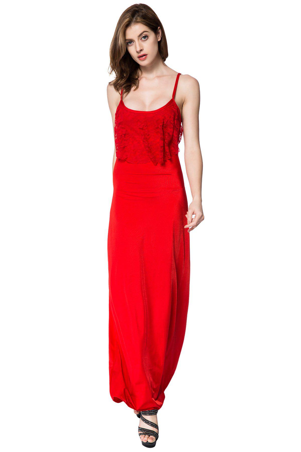Summer Alluring Spaghetti Strap Sleeveless Solid Color Spliced Women's Dress - RED M