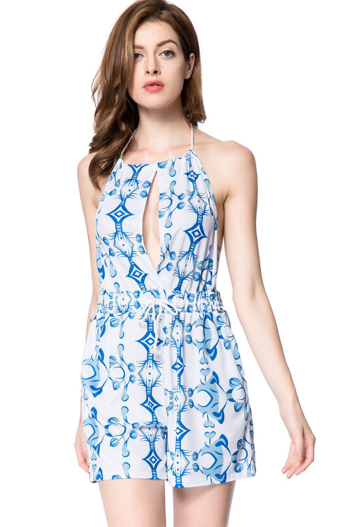 Sexy Halter Sleeveless Backless Hollow Out Printed Women's Romper - WHITE L