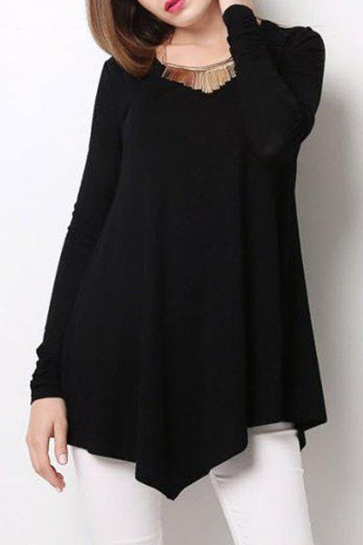 Stylish Scoop Neck Long Sleeve Black Loose-Fitting T-Shirt For ...
