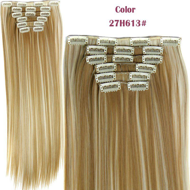 Stylish Heat Resistant Synthetic Clip-In Long Straight Women's Hair Extension Suit medium long wavy heat resistant fiber hair white lace front synthetic wig