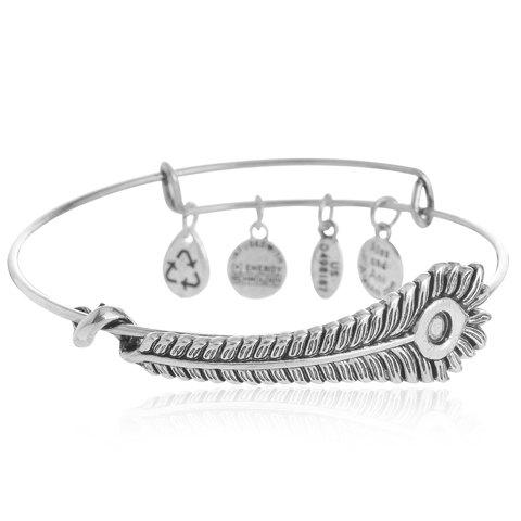 Retro Classic Feather Round Bracelet - SILVER