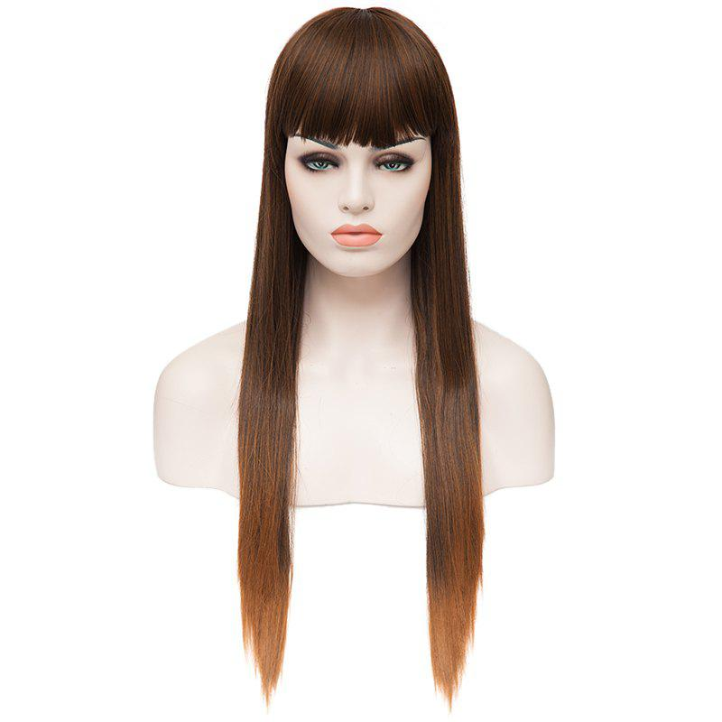 Trendy Heat Resistant Fiber Long Straight Full Bang Charming Women's Capless Wig - 2T3