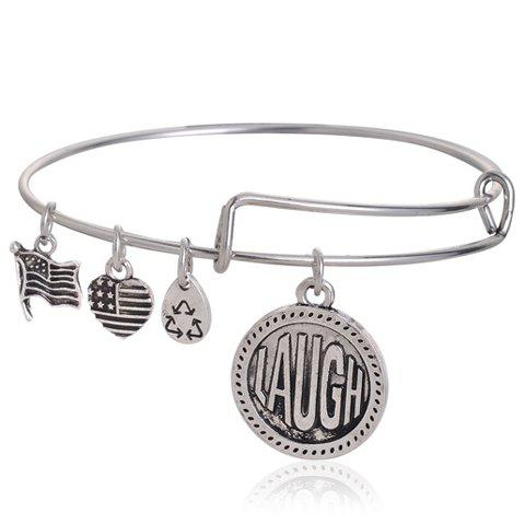 Retro Classic Heart Letter Bracelet For Women -  SILVER