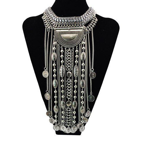 Retro Hyperbolic Round Tassel Necklace For Women -  SILVER