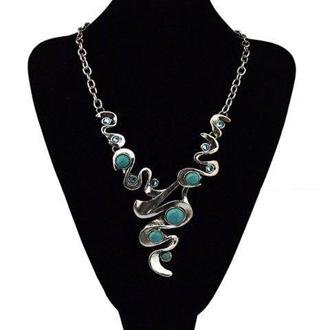 Chic Stylish Beads Geometric Necklace For Women - SILVER