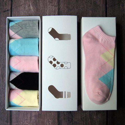 5 Pairs of Chic Candy Color Rhombus Pattern Socks For Women