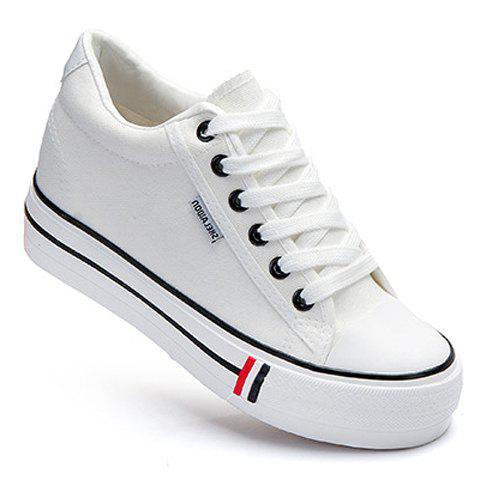 Preppy Style Lace-Up and Round Toe Design Canvas Shoes For Women - WHITE 39