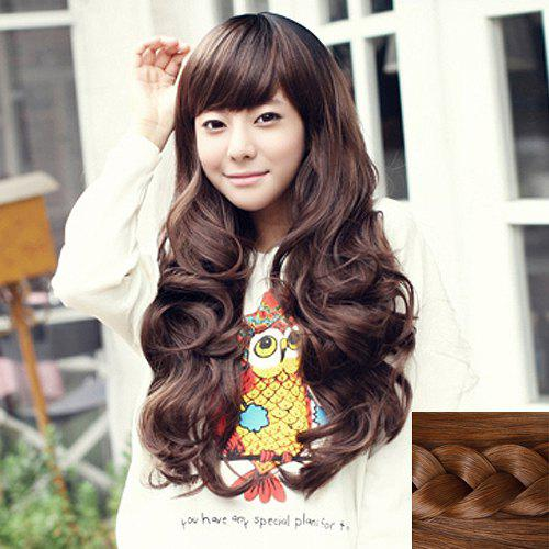Fluffy Side Bang Fashion Long Heat Resistant Fiber Wave Capless Wig For Women - LIGHT BROWN