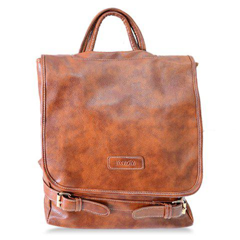 Casual Cover and Buckles Design Satchel For Women - BROWN