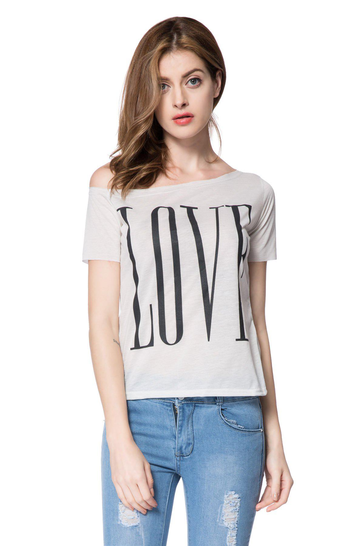 Stylish One-Shoulder Letter Print Short Sleeve Women's T-Shirt - WHITE S