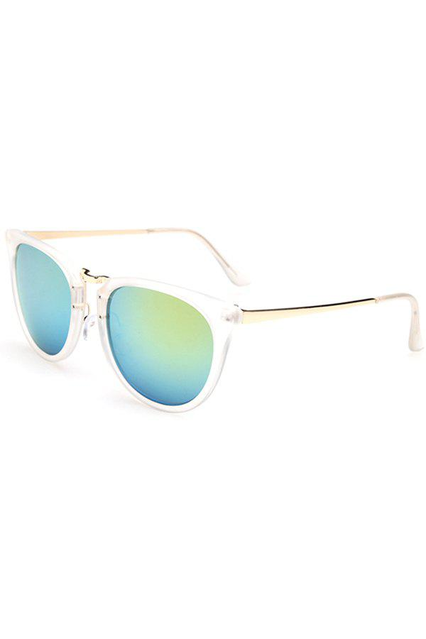 Chic Alloy Splice Transparent Frame Sunglasses For Women - GREEN
