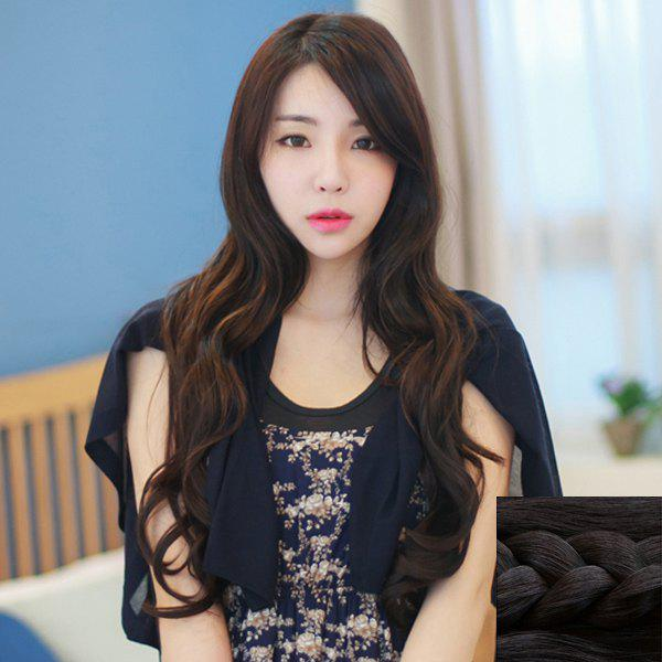 Sophisticated Heat Resistant Synthetic Side Bang Wave Vogue Long Capless Wig For Women -  BLACK