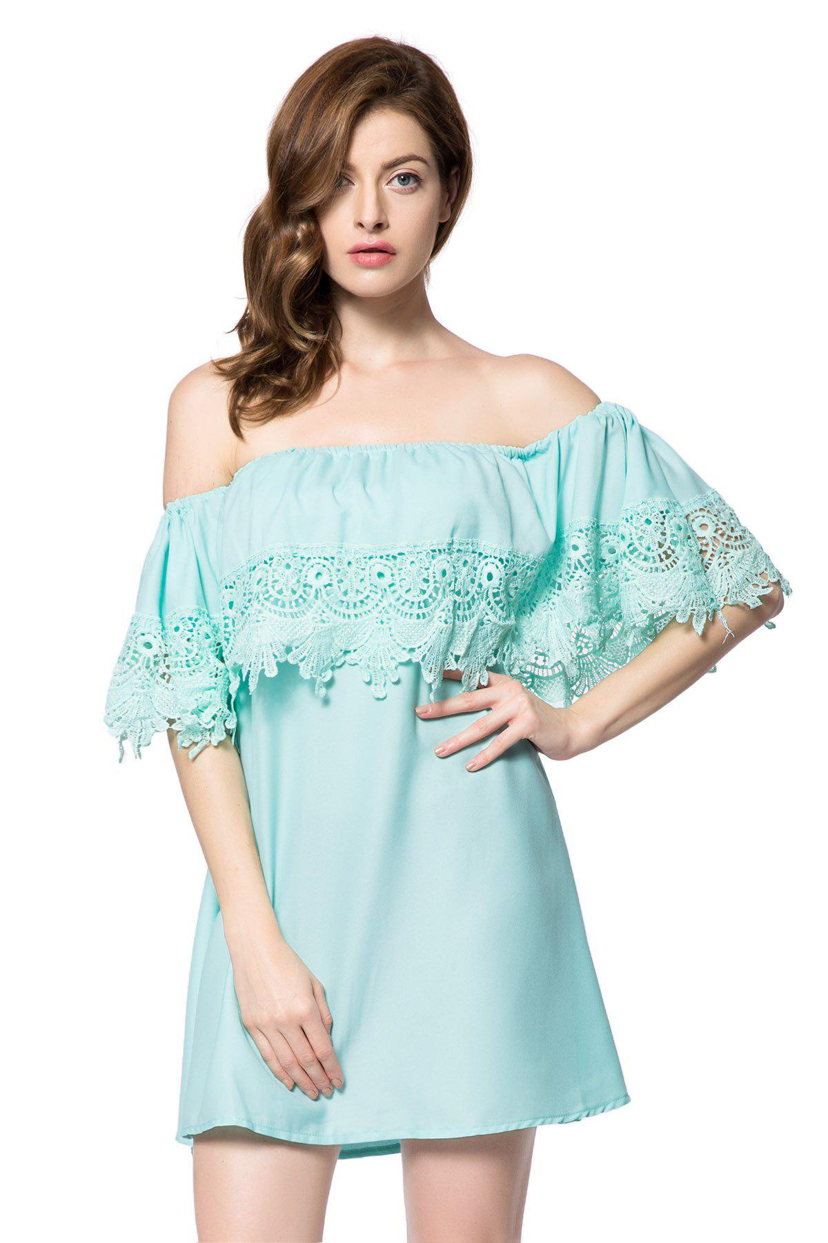 Stylish Slash Neck Lace Splicing Off The Shoulder Short Sleeve Women's Dress - GREEN M