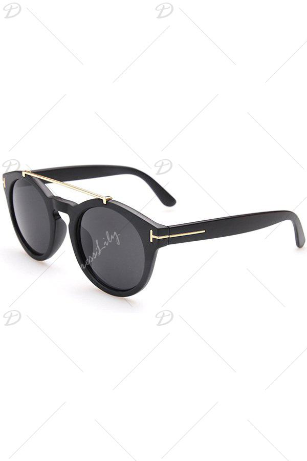 Chic Alloy Embellished Matte Black Sunglasses For Women - BLACK