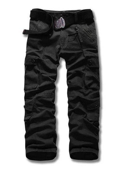 Loose Fit Straight Leg Multi-Pocket Suture Design Zipper Fly Plus Size Men's Cargo Pants - BLACK 36