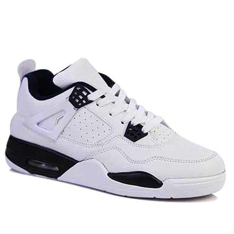 Fashion Round Toe and Color Block Design Athletic Shoes For Men - WHITE 44