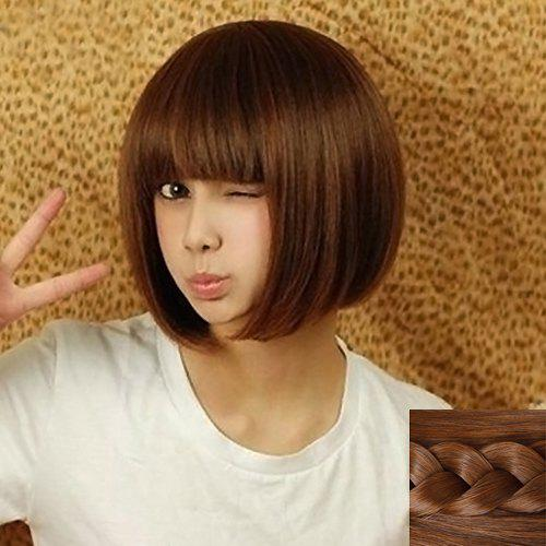 Fashion Synthetic Silky Short Straight Full Bang Cute Style Women's Capless Wig - LIGHT BROWN