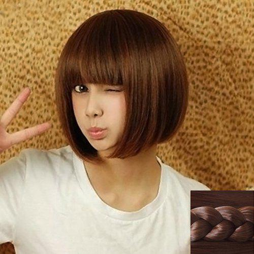 Fashion Synthetic Silky Short Straight Full Bang Cute Style Women's Capless Wig - DEEP BROWN