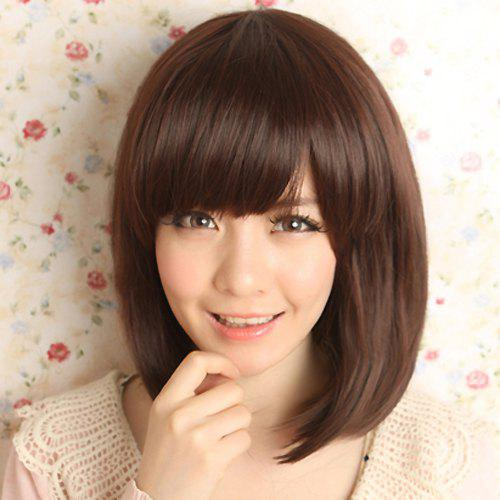 Fashion Synthetic Silky Medium Straight Side Bang Sweet Style Women's Capless Wig - DEEP BROWN