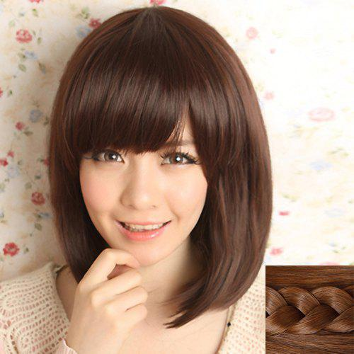 Fashion Synthetic Long Natural Straight Full Bang Ladylike Womens Capless Wig