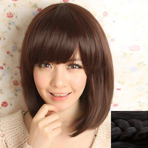 Fashion Synthetic Silky Medium Straight Side Bang Sweet Style Womens Capless Wig