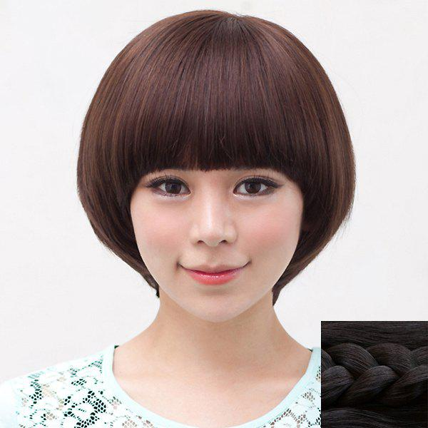 Fashion Synthetic Fluffy Short Straight Bob Neat Bang Cute Style Women's Capless Wig - BLACK