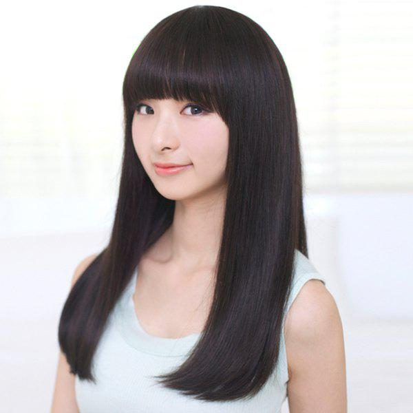 Fashion Synthetic Long Straight Neat Bang Ladylike Charming Women's Capless Wig - BLACK