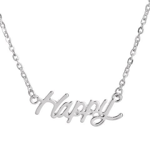 English Word Pendant Necklace - SILVER