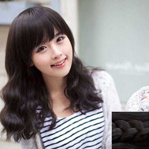 Fashion Synthetic Towheaded Long Wavy Full Bang Charming Ladylike Women's Capless Wig - BLACK