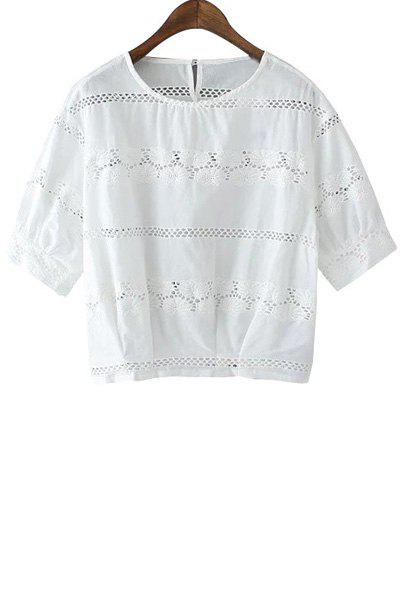 Sweet Style Jewel Neck Openwork Floral Pattern Short Sleeve T-Shirt For Women - WHITE L