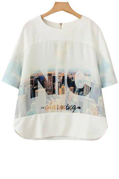 Fashionable Jewel Neck Letter Building Print Short Sleeve T-Shirt For Women - WHITE S