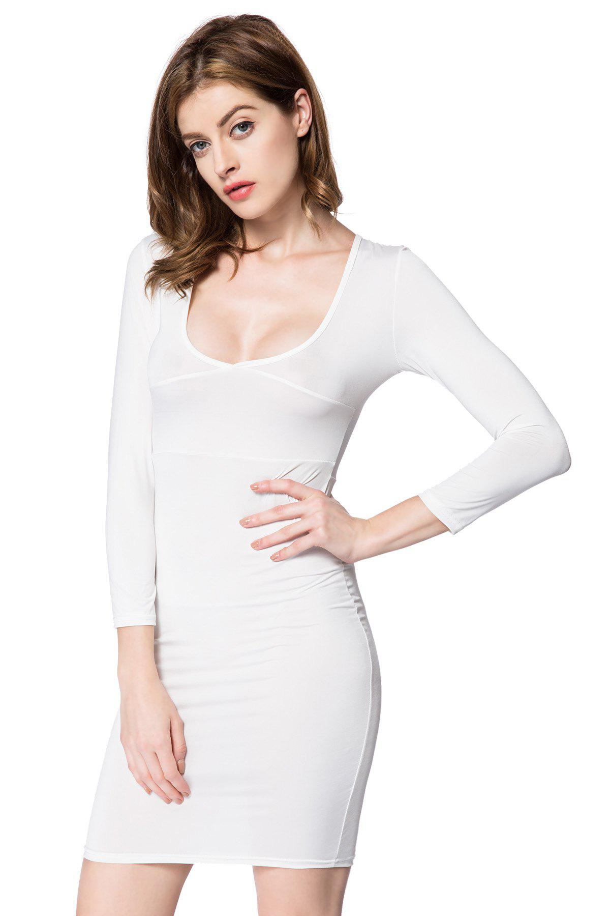 Sexy Plunging Neck Solid Color Long Sleeve Dress For Women - WHITE M