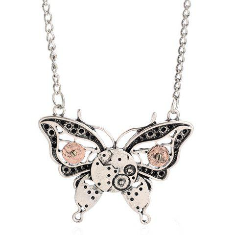 Gear Hollow Out Butterfly Pendant Necklace - SILVER