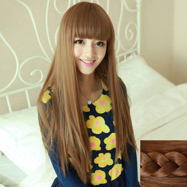 Fashion Silky Straight Full Bang Heat Resistant Fiber Noble Long Capless Wig For Women - LIGHT BROWN