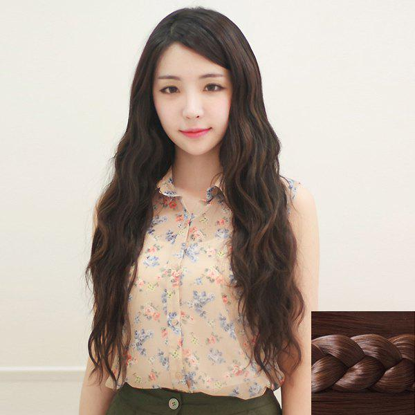 Fashion Synthetic Fluffy Long Big Wavy Side Bang Ladylike Women's Capless Wig