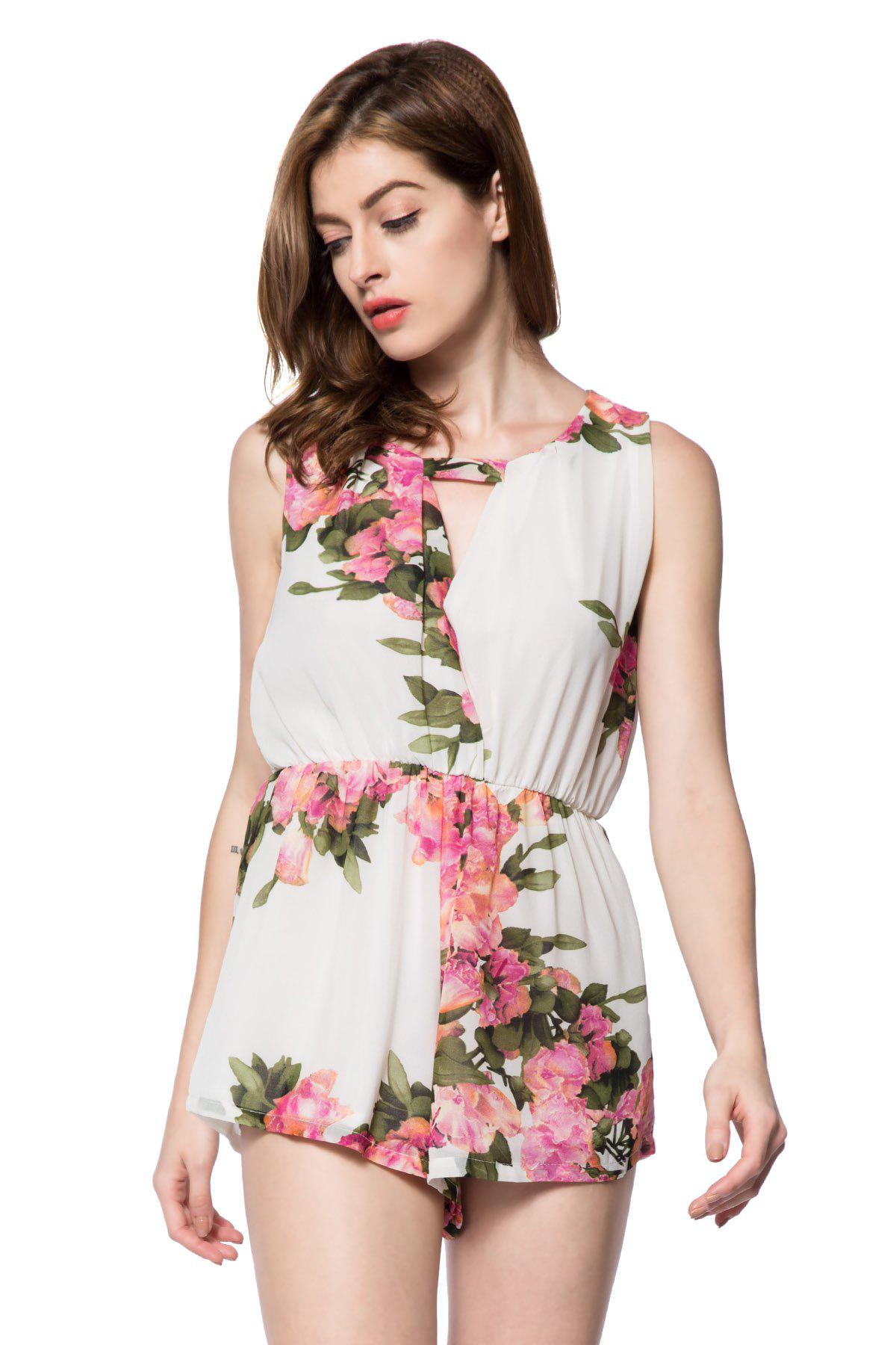 Stylish Scoop Collar Sleeveless Hollow Out Floral Print Women's Romper - WHITE M