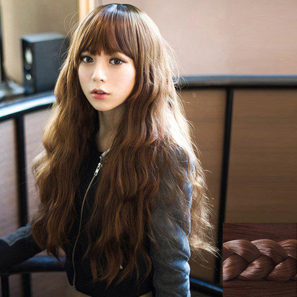 Trendy Synthetic Fluffy Long Loose Wave Full Bang Ladylike Women's Capless Wig