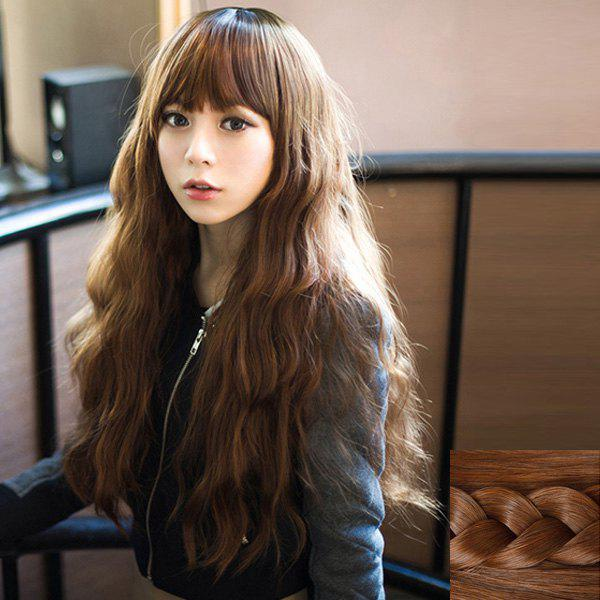 Trendy Synthetic Fluffy Long Loose Wave Full Bang Ladylike Women's Capless Wig - LIGHT BROWN