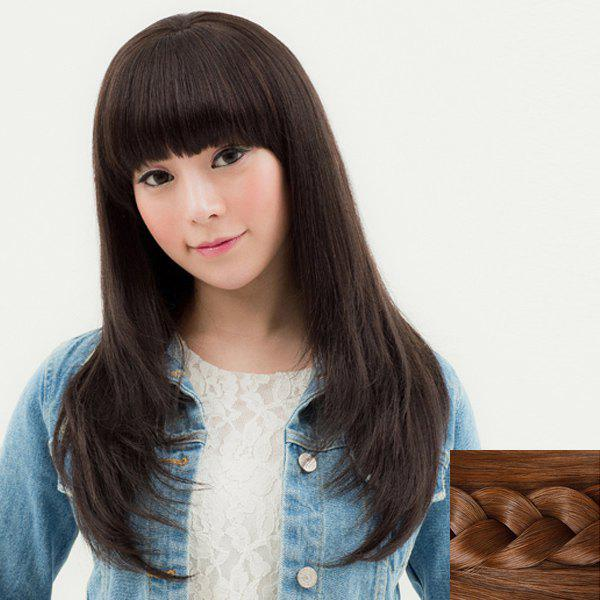 Fashion Synthetic Layered Long Straight Neat Bang Ladylike Women's Capless Wig - LIGHT BROWN