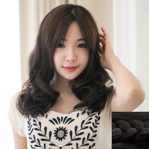 Stylish Synthetic Fluffy Long Wavy Centre Parting Ladylike Women's Capless Wig - BLACK