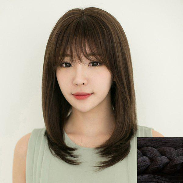 Fashion Synthetic Long Natural Straight Full Bang Ladylike Women's Capless Wig - BLACK