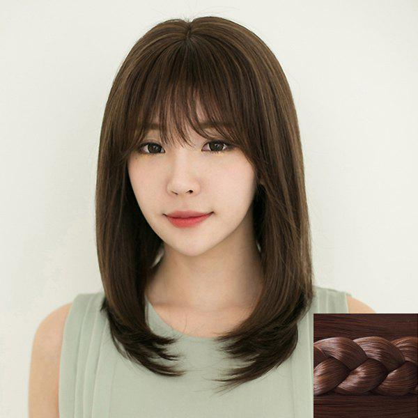 Fashion Synthetic Long Natural Straight Full Bang Ladylike Women's Capless Wig - DEEP BROWN