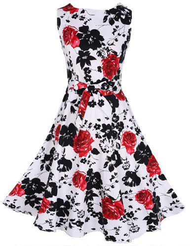 Stylish Sleeveless Round Collar Floral Print Women's Flare Dress - RED M