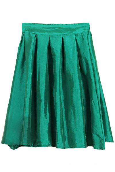 Fashionable Ruffle Solid Color Side Zipper Fly Skirt For Women - GREEN XL