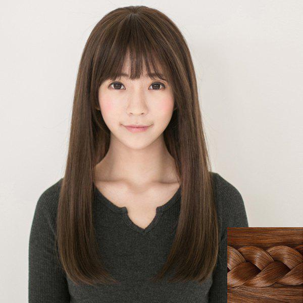 Noble Silky Straight Stylish Long Full Bang Synthetic Capless Wig For Women - LIGHT BROWN
