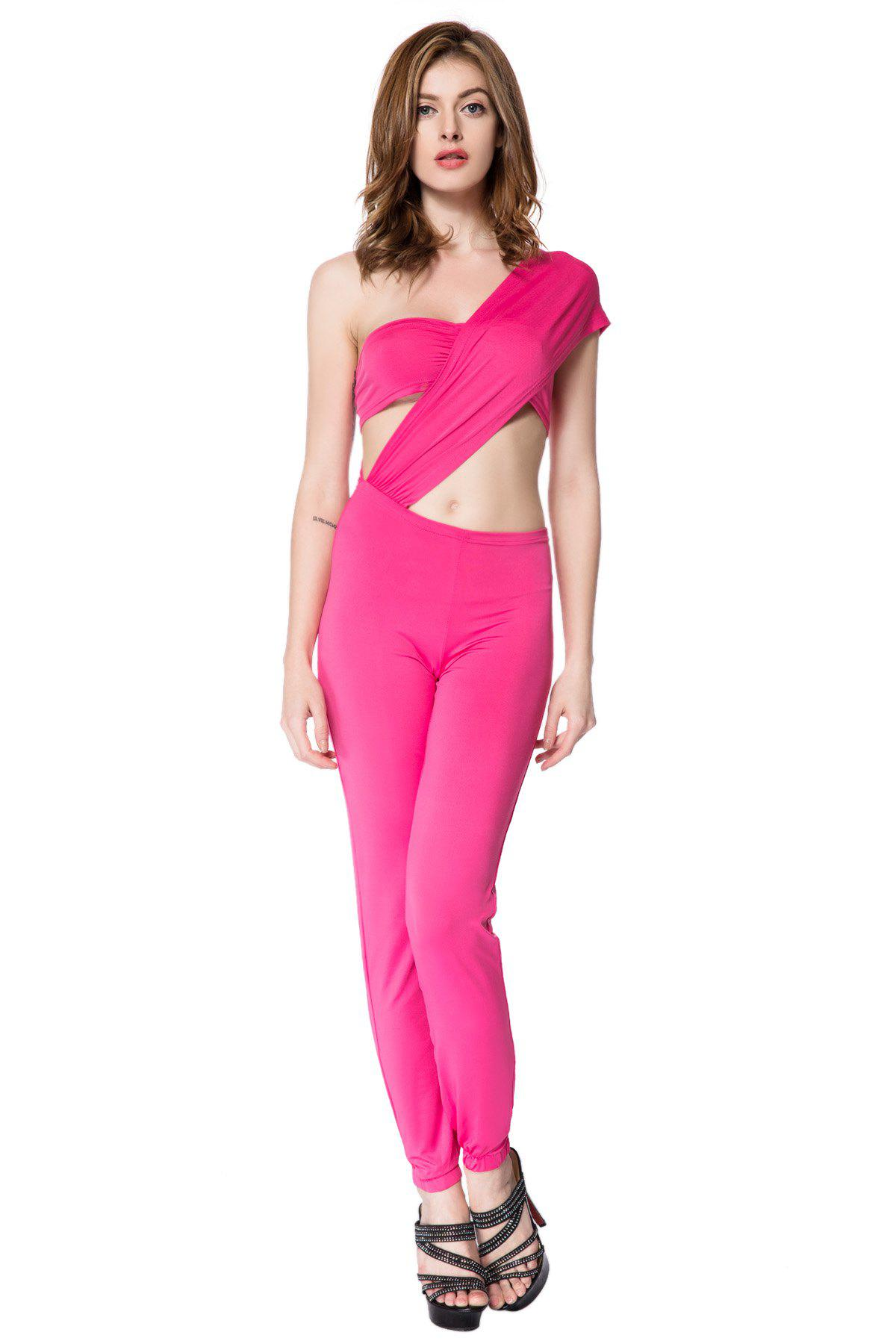 Sexy One Shoulder Solid Color Jumpsuit For Women - PINK S