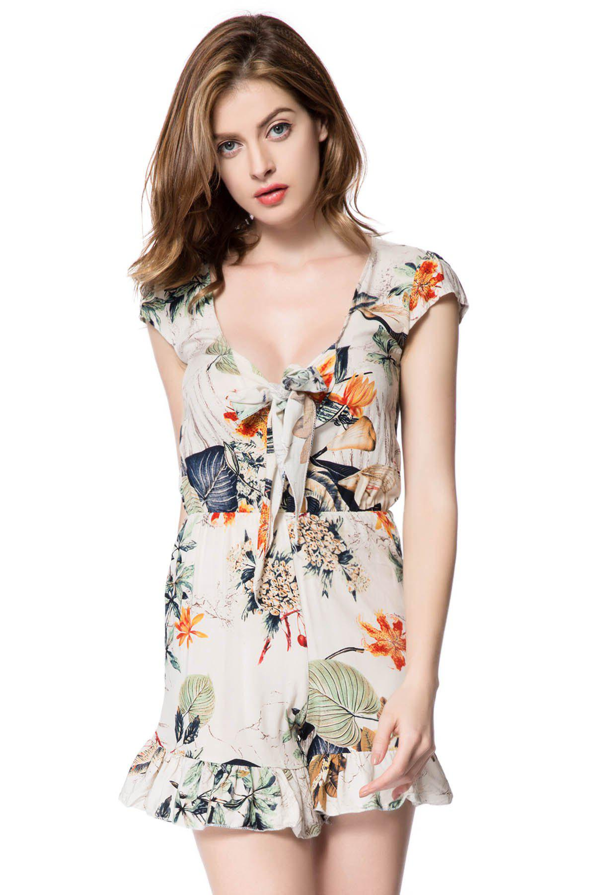 Stylish Women's Plunging Neckline Floral Print Romper - OFF WHITE M